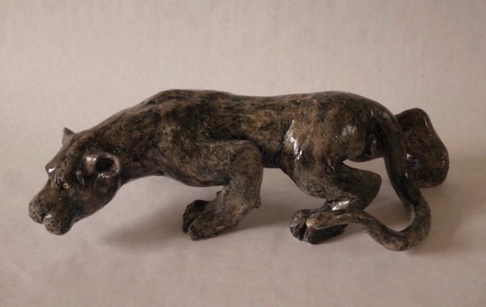 Panthère noire tapie - Bronze - 2016